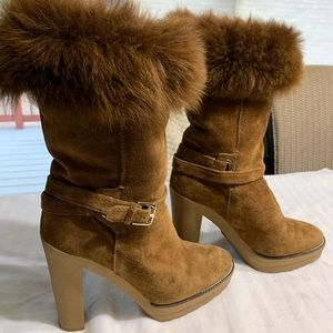 RALPH LAUREN COLLECTION BOOTS Suede, fur t…